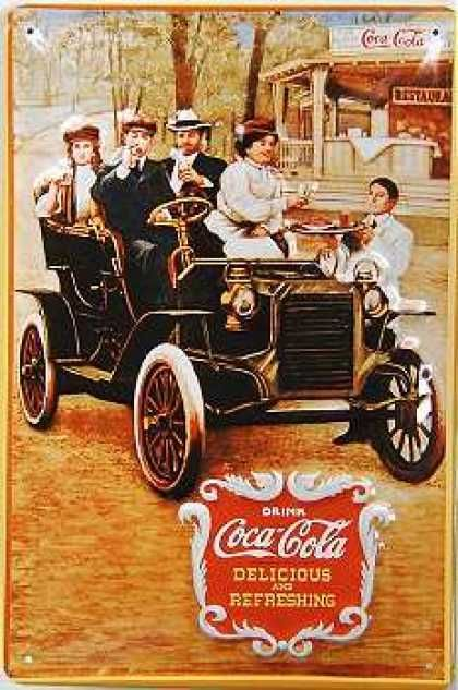 Coca Cola early1900s ad. Have Your manservant ready to bring the refreshment to go at the next pit stop. Viewed through the eyes of 1900 audience, those are a gang of rambunctious hipsters, equipped with the newest technical gadgets, getting their energy drinks at the drive-in.