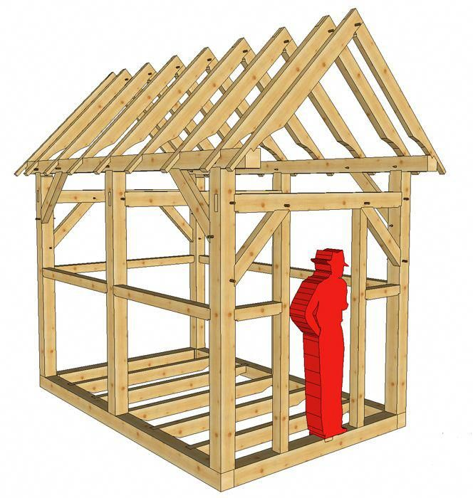 This 8x12 Post And Beam Outbuilding Would Make A Wonderful Gardener S Shed Or Playhouse The 12 12 Roof Pitch Creates Diy Shed Plans 8x12 Shed Plans Shed Plans