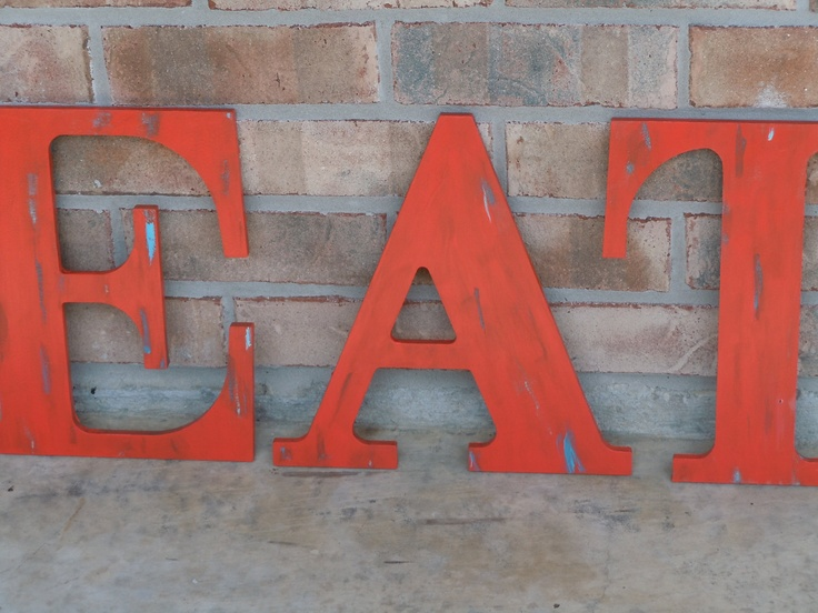 Eat sign rustic kitchen decor shabby letters rustic for Kitchen letters decoration