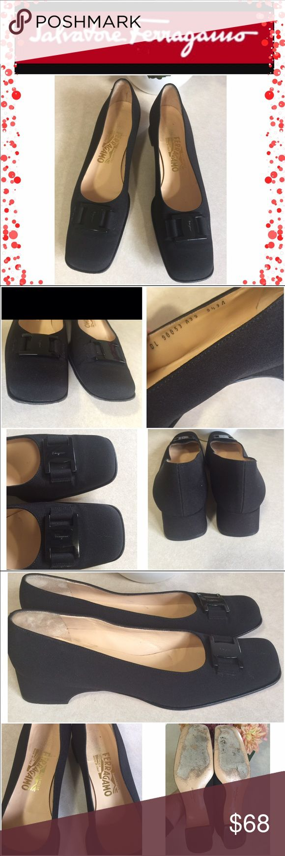 """Salvatore Ferragamo black dress shoes Authentic Salvatore Ferragamo vintage nylon heels black formal shoes. Very good preowned condition. They show wear on the bottom soles and some on insoles and very light wear in the upper parts. Heel 1.5"""" No accessories included Salvatore Ferragamo Shoes Heels"""