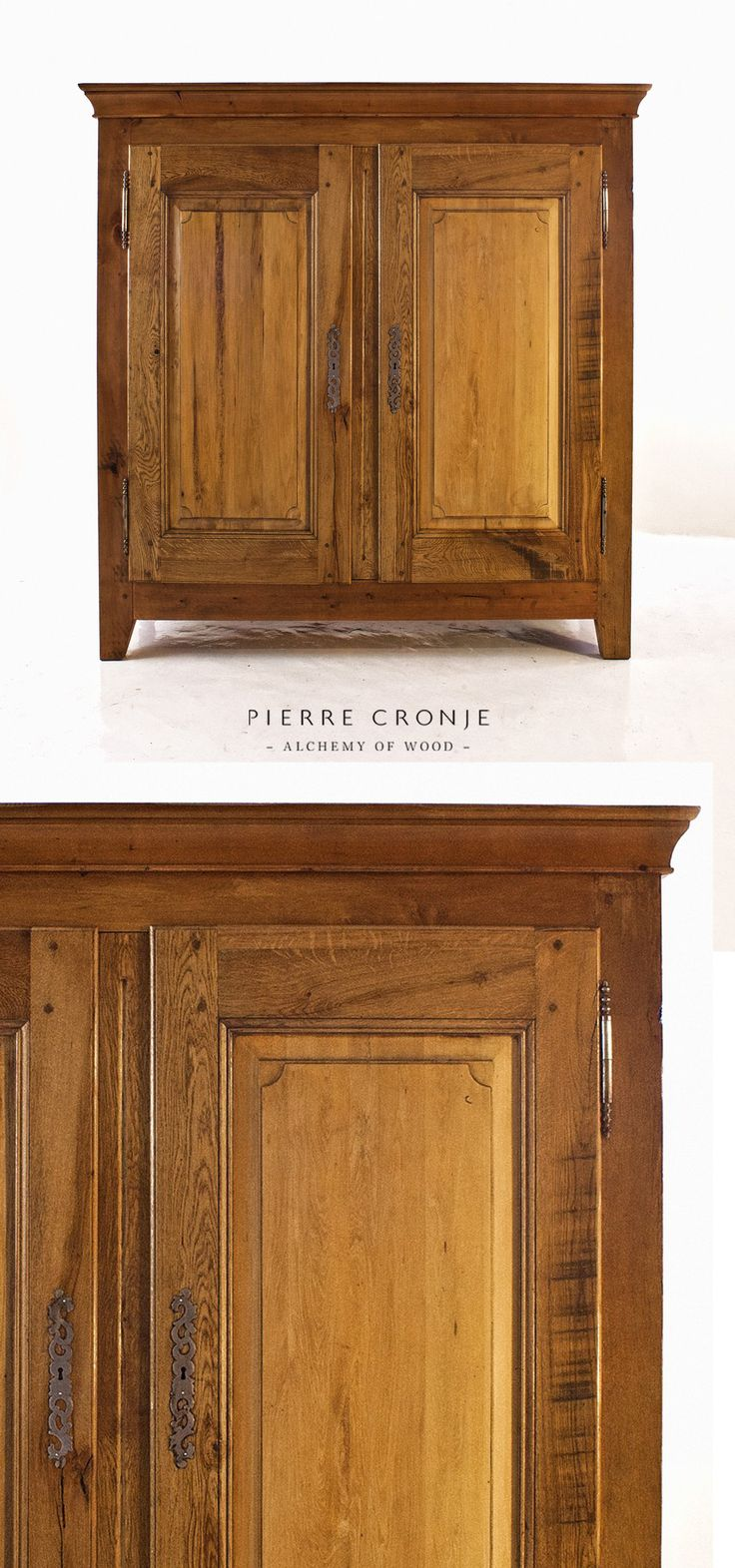 A Pierre Cronje Karoo Cape Cupboard in Witels and French Oak with French hinges and escutcheons - 1800x600x1800mm (LxWxH). Th