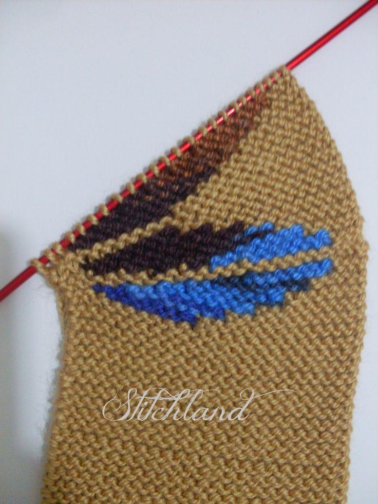 Следки связанные частичным вязанием. Leaf Slippers #FreePattern for English pattern scroll down