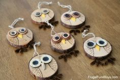 Wood Slice Owl Ornaments