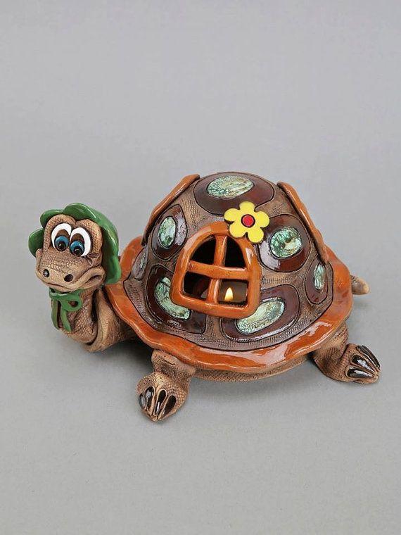 Tortuga de cerámica de la vela titular tortuga del bebé