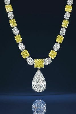 Details about Fancy Yellow Cushion White Oval Necklace 925 Sterling Silver String Pear Drop