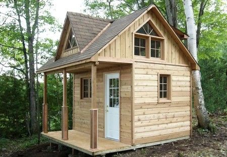12×12 Cottage Cabin with Loft and Shed Dormer