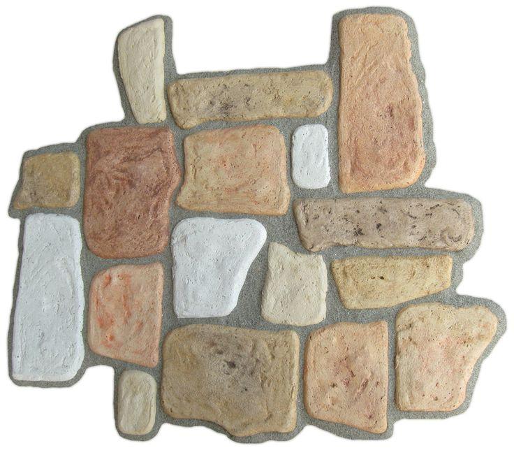 Pietre per rivestimenti murali mod. Toscana, colori misti. Esempio di posa.