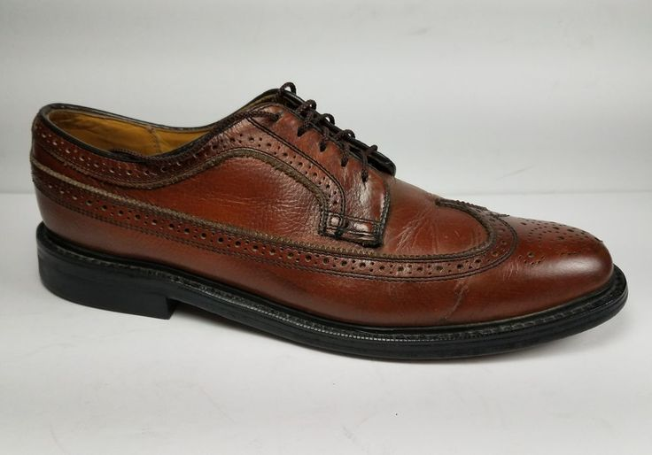 Dexter Brown Wingtip Longwing Brogue Pebblegrain Shoes Men's 10 B Made in USA #Dexter #WingTip #Formal