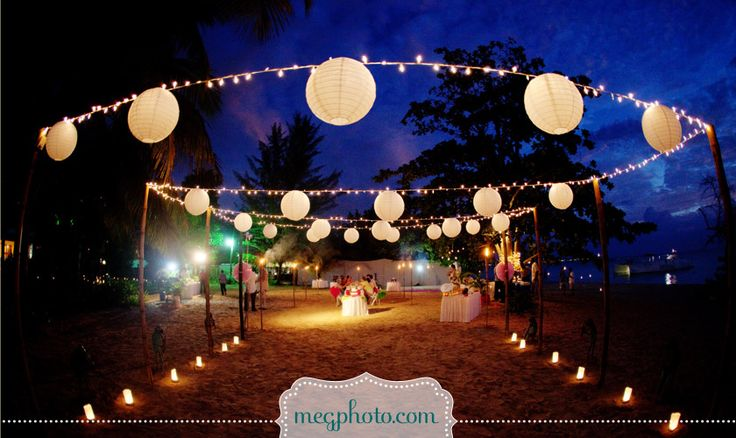#destination #beach #wedding #Jamaica #reception #lantern #paper lantern #string lights
