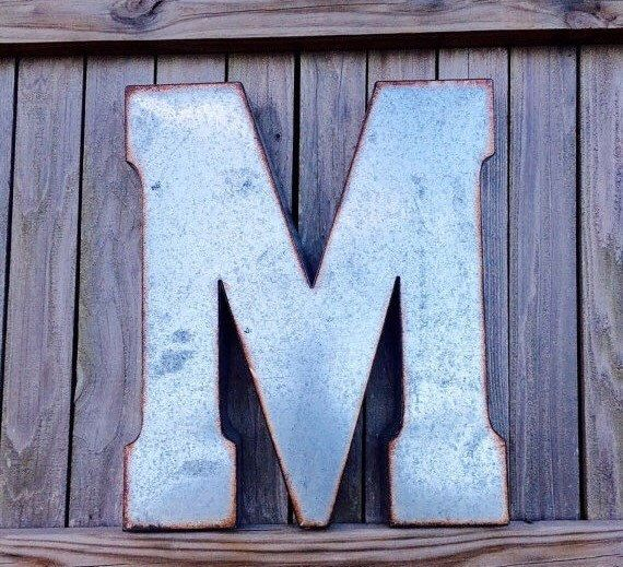 Large Metal Letter Wall Letters Rustic Decor Distressed Wedding