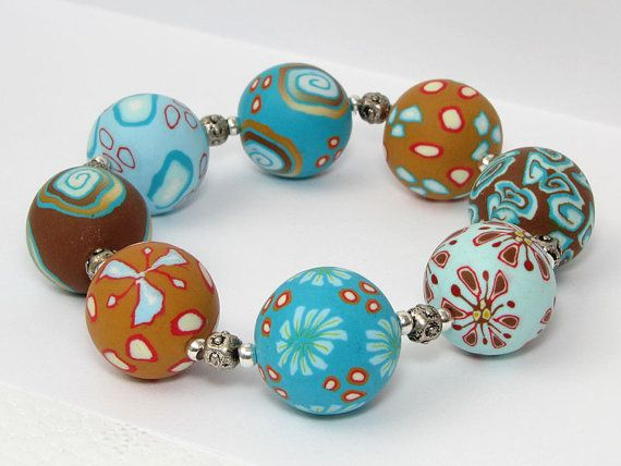 Beach handmade bracelet from polymer clay from germany, millefiori, millefleur, Fimo Art Clay SRA