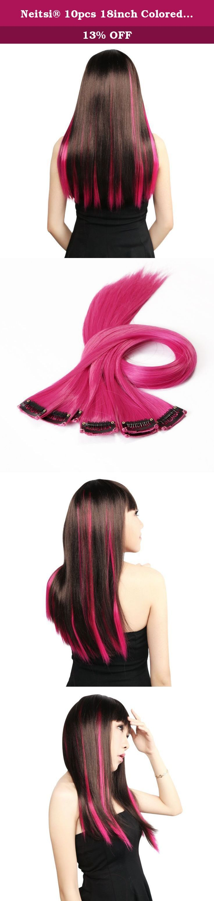 Neitsi® 10pcs 18inch Colored Highlight Synthetic Clip on in Hair Extensions #F09 Rose. Color: Rose Length:18inch(45cm) packing:Total 10pcs 2pcs/pack,25g/pc Material:High Quality Synthetic hair Avaliable length:18inch(45cm) Avaliable Color: 12 color in stock now,Orange,red,blue,purple,gold,green,white,yellow,pink,red wine, light pink, light blue. Style: Synthetic clip in hair extensions Highlight clip in hair weft for decoration Rewarding item,PLEASE do not leave negative feedback...