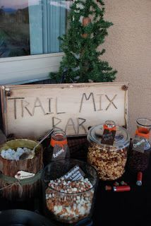 ~Trail Mix Bar Menu~ Granola Craisins M & M's Chocolate Chips Mixed Nuts Dry Roasted Peanuts Honey Goldfish Butterscotch and White Chocolate Chips Marshmallows