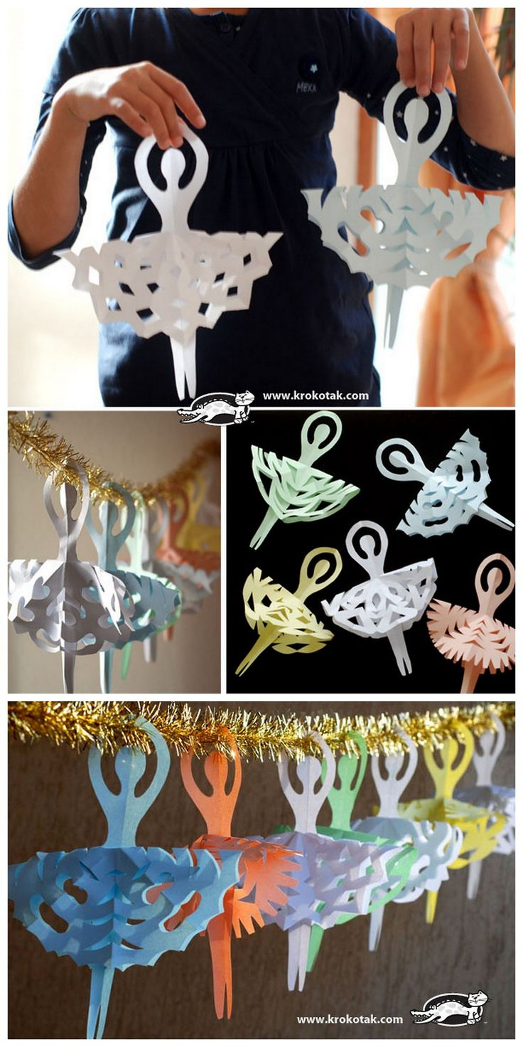 DIY Ballerina Snowflake Tutorial and Template from Krokotak here. For 56 Star Wars snowflake templates and other DIY snowflakes (Game of Thr...