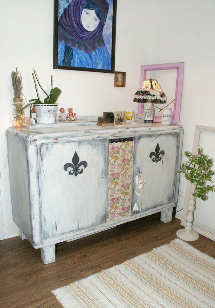 Shabby Chic Kommode Xxl Fleur De Lis Vintage Wasche Schrank