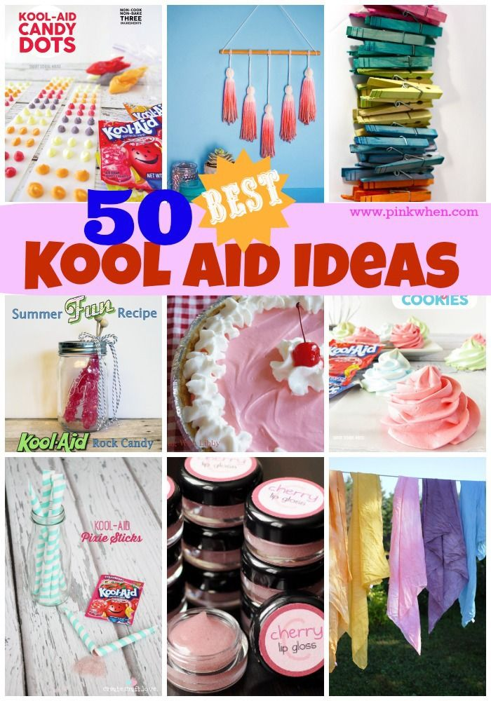 So many projects that use Kool Aid! Lip Gloss, Play Dough, Candy, Pies, Dyeing material and making scarves! The list goes on...
