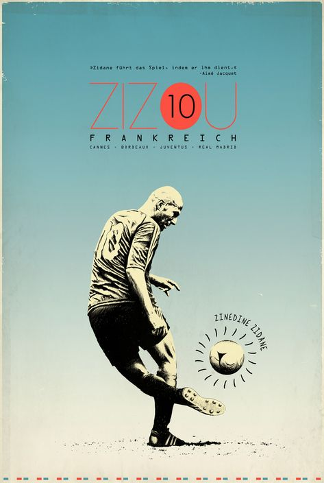 soccer and design: excellent collection... Zidane, Messi, Rooney, Pele, Becks, Baggio, etc (via zoran lucic - graphic designer)