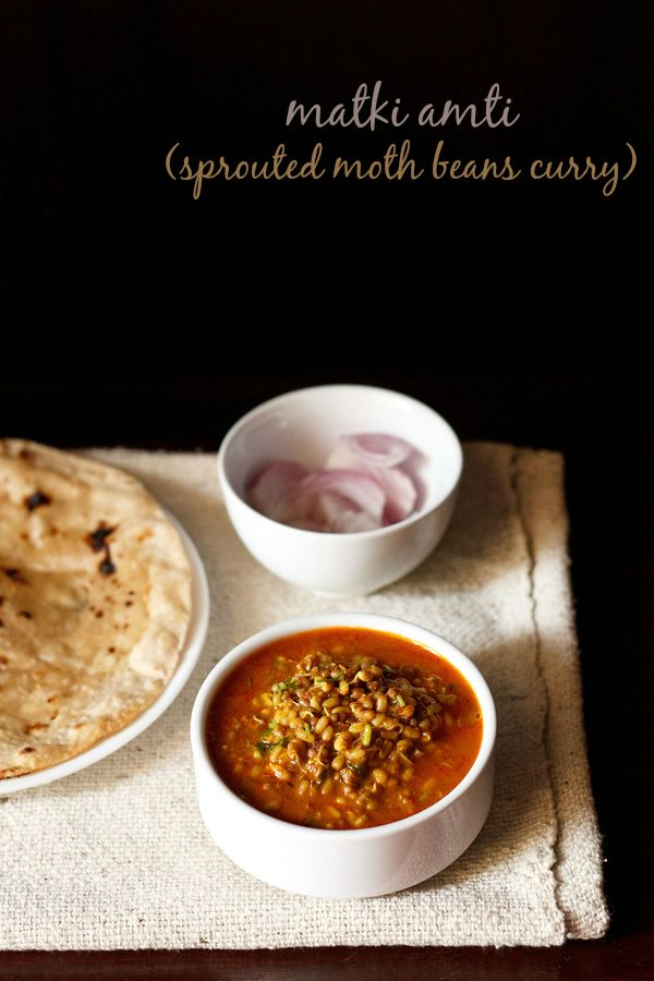 matki amti recipe - spiced curry made with matki or moth beans. step by step recipe.