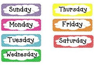 Half Day in Pre K: Days of the Week, Months of the Year, and Transportation Chart in Polka Dots!!