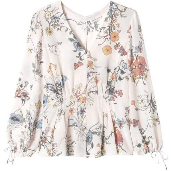 Rebecca Taylor Long Sleeve Meadow Floral Top (191.095 CLP) ❤ liked on Polyvore featuring tops, blouses, pink combo, white blouse, silk tie blouse, white top, long sleeve blouse and white floral blouse