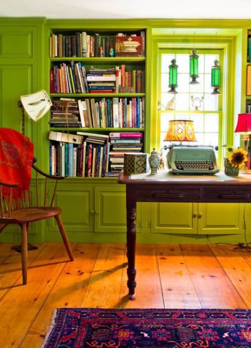 ...but I'll take the green down just a notch, replace the broken lampshade, and swap out that manual typewriter for a new MacBook Pro.Decor, Ideas, Farms House, Living Rooms, Green Wall, Living Room Design, Livingroom, Colors Home, Home Offices