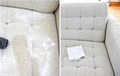 Elimina manchas de tu sillón Mezcla una cucharada de bicarbonato, 1/3 de taza de vinagre, agua caliente (¡no hirviendo!), una cucharada de detergente, y con esta mezcla retira la mancha. El bicarbonato ayudará a refrescar la superficie, espolvorea una capa delgada de bicarbonato sobre el tapizado de tu sillón y déjalo así durante unas horas, luego retíralo con una aspiradora.