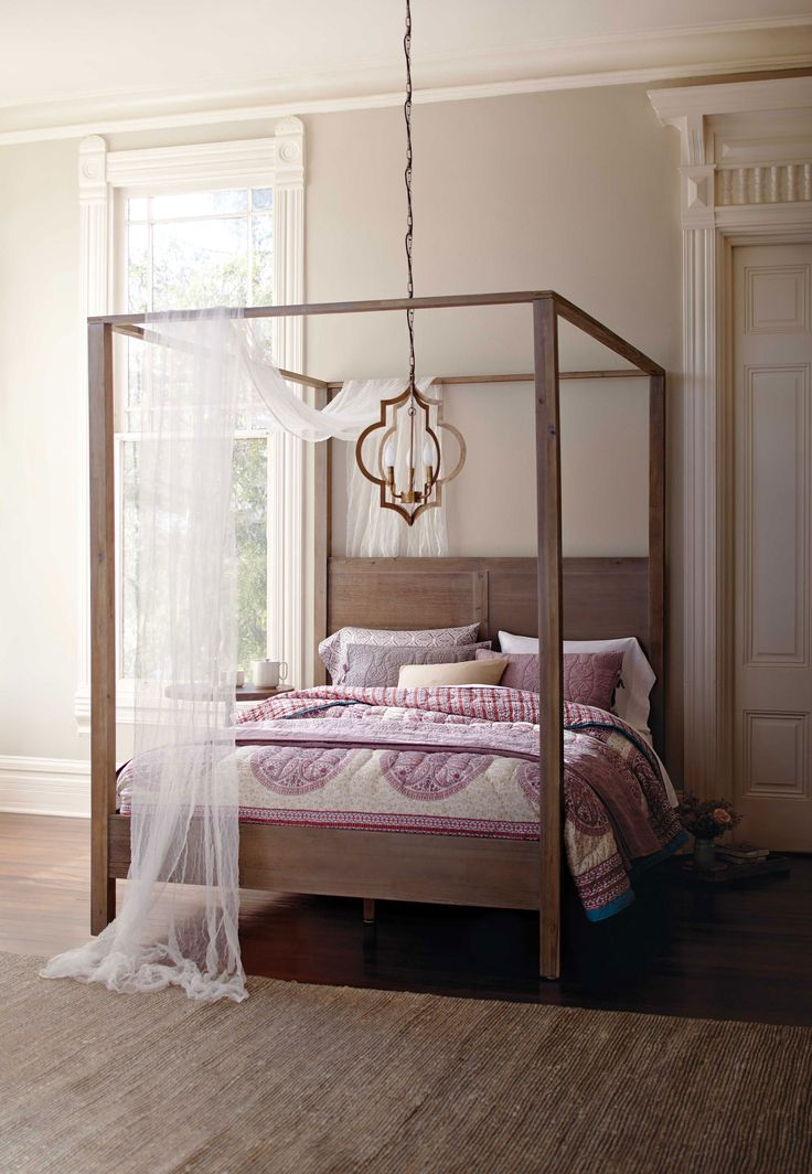 In a simple  clean lined silhouette with a weathered gray finish  our  canopy bed exudes rustic elegance  Home Decor. 17 Best images about Bed   Bath Home Decor on Pinterest