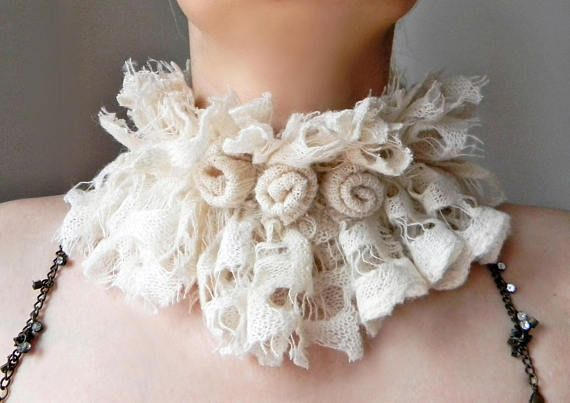 Ivory fluffy knit lace collar Neck warmer with handmade roses