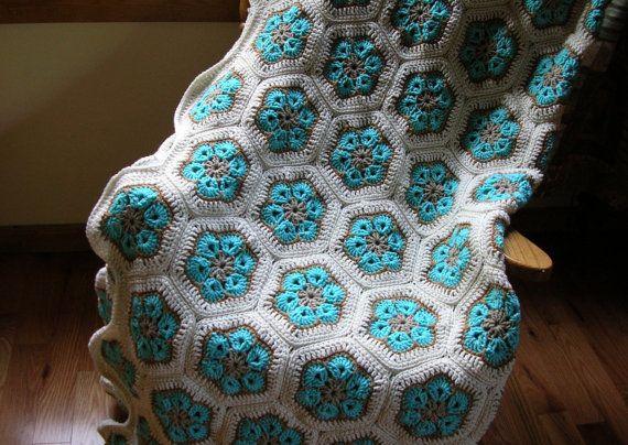 Crochet Afghan Blanket  Aqua Turquoise  Beige by LittlestSister, $300.00