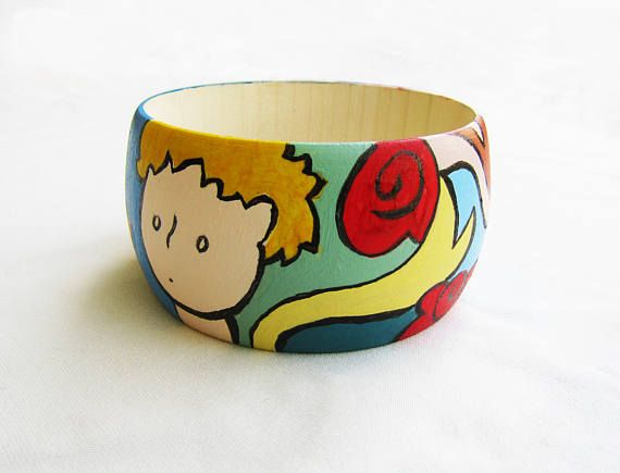 LITTLE PRINCE BANGLE, petit prince handpainted wooden bracelet, little prince jewelry, gift