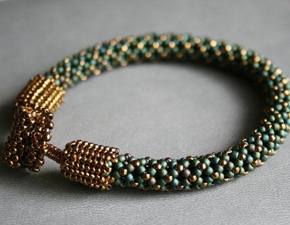 matte blue bracelet matte green cuff beaded by koralikowyraj #beadbracelet