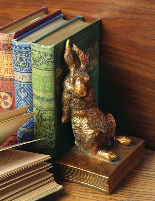 GILDED BUNNY BOOKENDS - Gold Rabbit Bookends | fantasy, fauna, mori kei, antique kei, #wishlist