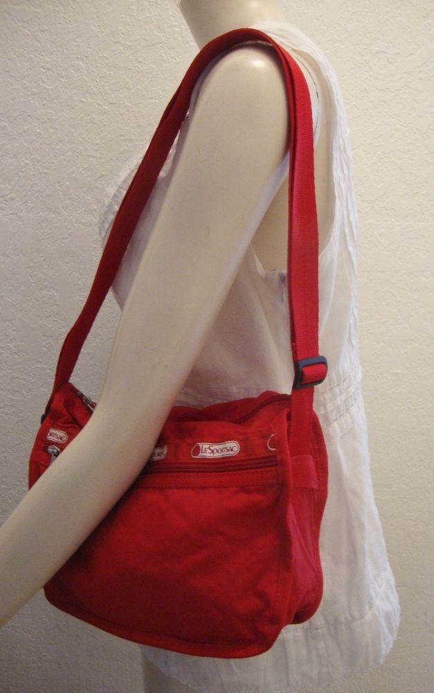 59a6a29a70bb LeSportSac Red Nylon Crossbody Bag Adjustable Strap Medium Shoulder ...
