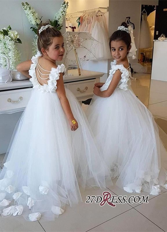 Wedding Party Dress Tea Length Flower Girl Dresses White Appliques O Neck Long Sleeves Lace Kids Flower Girl Dresses Abendkleider Kinder Reliable Performance Weddings & Events