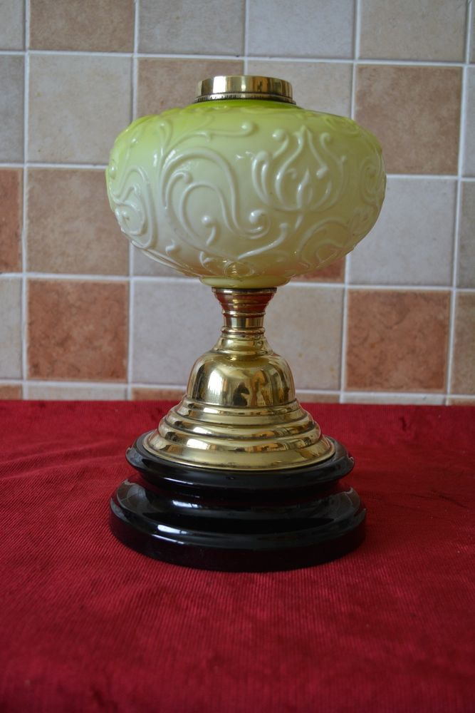 """a nice used oil lamp base plus lime green font in good condition height is approx. is11""""1/2 to the top of collar takes a standard twin burner 