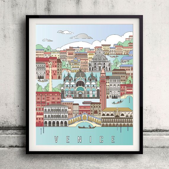Venice City Poster  Fine Art Print Landmarks skyline Poster