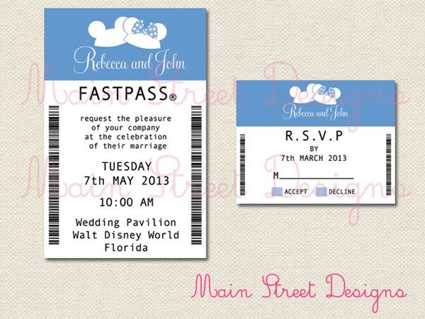Disney Wedding Invitations and Paper Goods from Main Street Designs