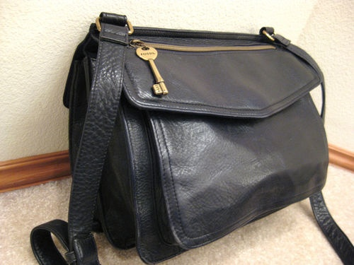 Versatile Fossil Double Flap Over Black PEBBLED Leather Shoulder Bag Purse | eBay