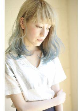 ヘブンスシブヤ HEAVENS SHIBUYA ホワイトブルー☆グラデーションカラー