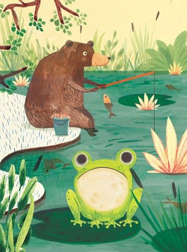 Claire Shorrock Illustration - claire,shorrock, claire shorrock, illustrator, illustration, photoshop, digital, paint, painterly, pencil, pencil crayon, fiction, YA, young reader, picture book, colourful, colour, animals, frog, bear, fish, fishing, hobbies, pond, lily pad, flowers, trees
