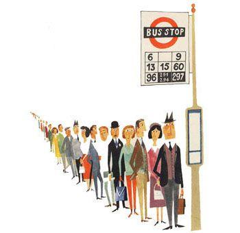 Miroslav Sasek - London bus queue                                                                                                                                                                                 More
