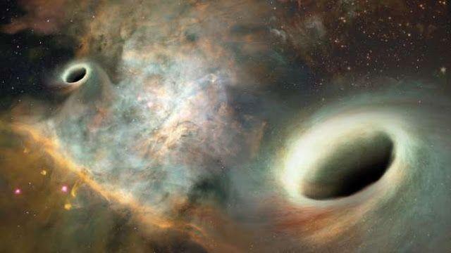 Lubang Hitam Supermasif saling mengorbit satu sama lain di pusat galaksi 0402  379, Kredit : Josh Velenzuela/ UNM   SpaceNesia - Dalam ...