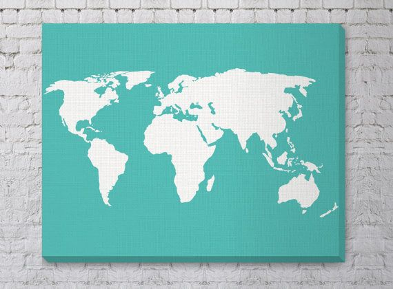 Canvas World Map Print Stretched Canvas Travel Nursery