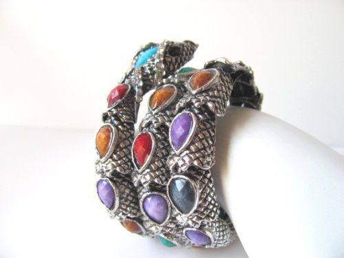 Tibetean Silver Adjustable Cuff Snake Bracelet with Multi Color Glass Stones and Rhinestones Gifts By Lulee. $21.99. in a design of perennial beauty - it stretches to fit most wrists. this snake bracelet encircles the wrist with its lavish style showcasing the stones and rhinestones. Tibetean silver - multicolor glass beads - rhinestonesi