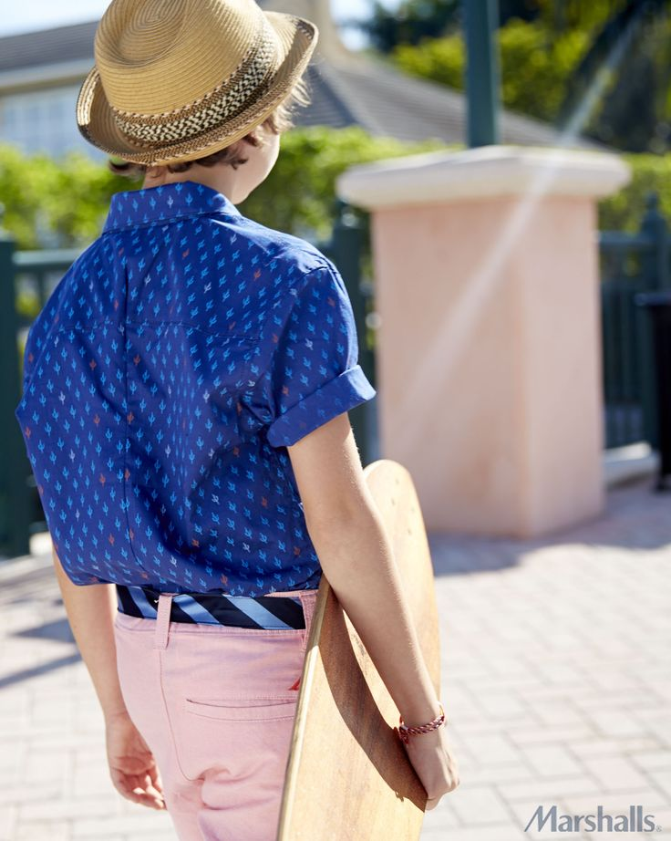 A printed button-down pops against preppy pink shorts. Top off that look with a woven fedora. This adorable outfit would be great for a friend's birthday party!
