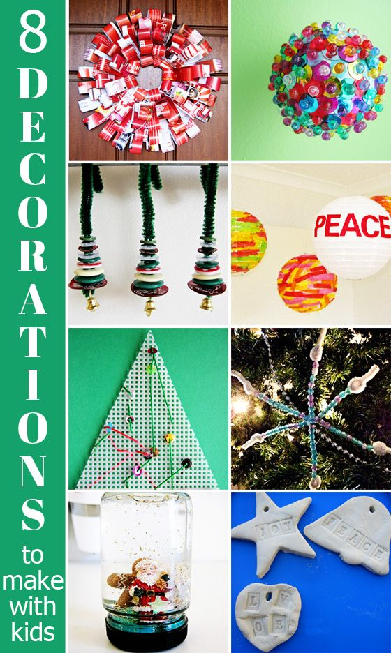 8 Christmas Decorations to Make with Kids. Fun and simple enough to make at school. #RoomMom #Christmas #ClassParty