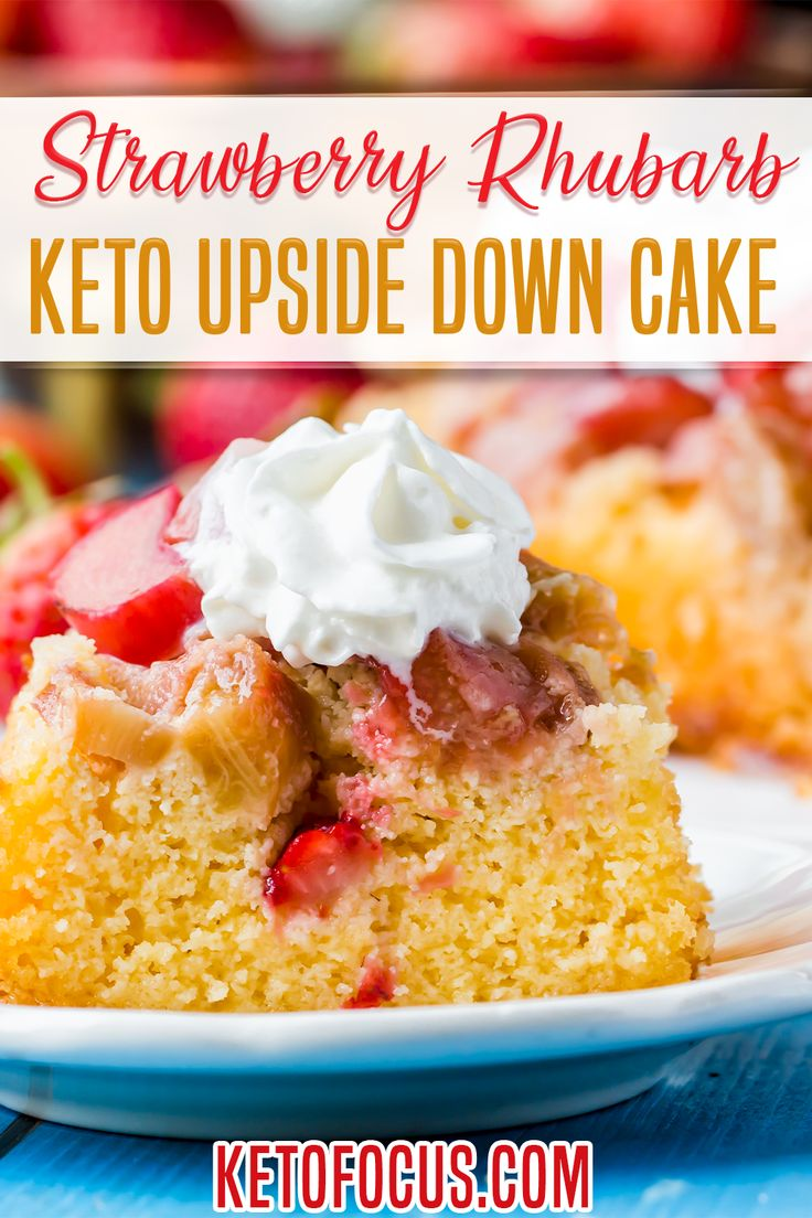 Jun 13, 2020 – Keto Strawberry Rhubarb Upside Down Cake! Two of America's classic fruit and vegetable pairing married to…