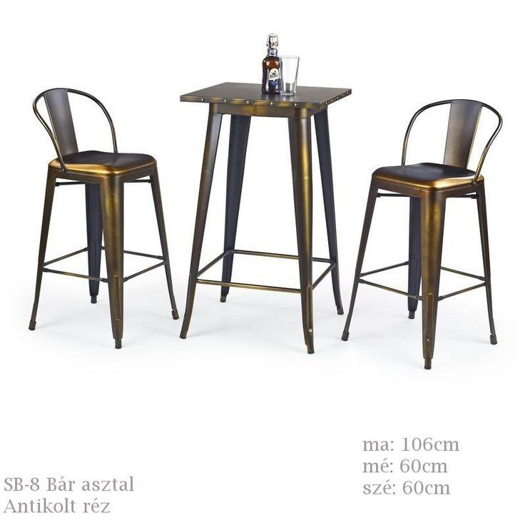 SB-8 bár asztal antikolt réz színben