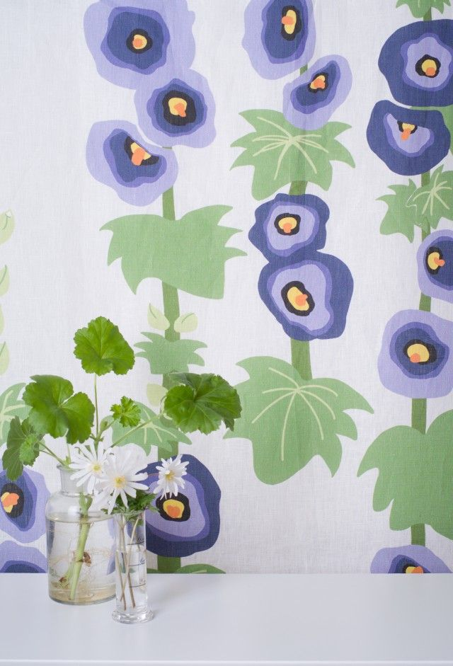 Fabric with Hollyhocks from Scandinavian textile designer Studio Kajsa Rolfsson- Nordic Design Collective