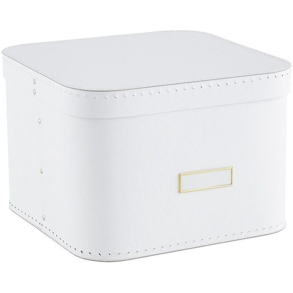 White Oskar Storage Box with Lid ($9.99) ❤ liked on Polyvore featuring home, home decor, small item storage, white storage boxes, lid container, stackable storage boxes, white home accessories and white box